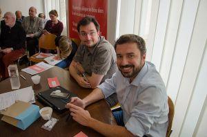 Frédéric Schütz et Stéphane Coillet-Matillon lors de l'assemblée générale de Wikimedia Suisse, 2 avril 2016. CC-BY-SA-4.0 Mauro Cassina (aka cassinam)