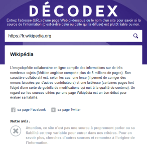 La fiche Wikipédia de Décodex ©Le Monde